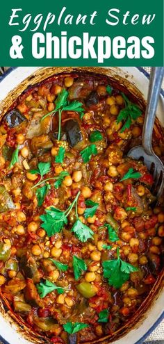Mediterranean diet 342062534202153992 - Oh my word! This eggplant recipe is melt-in-your mouth delicious. A great vegan stew with chickpeas and tomatoes, and you'll love the warm flavors. Source by themeddish Greek Recipes, Soup Recipes, Vegetarian Recipes, Dinner Recipes, Healthy Recipes, Vegetarian Protein, Rice Recipes, Vegan Eggplant Recipes, Eggplant Dishes
