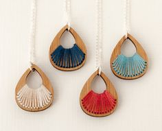 Hand Stitched Wood Necklace - Eco Friendly - Teardrop Pendant With Turquoise…