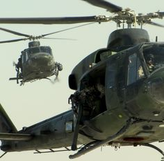 Two CH-146 Griffon Helicopters are seen coming back from a convoy escort mission over Afghanistan January 31st 2010 [2192  2168]