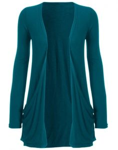 Long Sleeve Jersey Cardigan w Pockets Teal 7 non-american dollars