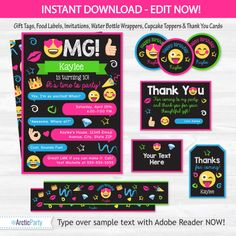 Sms printable invitation template customize add text and photos emoji party invitations emoji party supplies emoji party stopboris Image collections