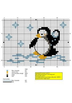 animaux - animals - pingouin - point de croix - cross stitch - Blog : http://broderiemimie44.canalblog.com/