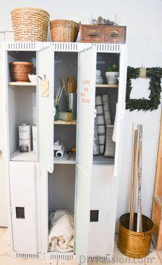 old-vintage-metal-lockers-refurbished-and-repurposed-for-storage (Diy Storage Lockers) Repurposed Lockers, Vintage Lockers, Metal Lockers, Metal Furniture, Repurposed Furniture, Vintage Furniture, Diy Furniture, Refurbished Furniture, Vintage Wood