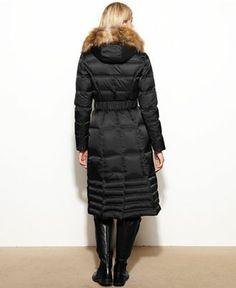 Laundry by Shelli Segal Coat, Faux-Fur-Trim Hooded Long Puffer - Coats - Women - Macy's