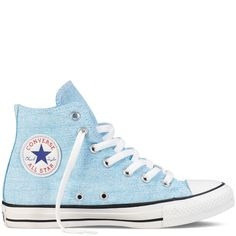 Converse - Chuck Taylor All Star Basic Washed Neons Hi Canvas Shoes in Neon Blue. $55.00