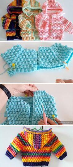 Crochet Baby Cardigan Free Pattern, Crochet Baby Jacket, Crochet Baby Sweaters, Baby Sweater Patterns, Crochet Hoodie, Crochet Patterns For Baby, Free Crochet, Baby Shoes Pattern, Crochet Baby Shoes