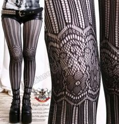 2 Pair Combo (French Lace Pantyhose Over Solid White) Hosiery Aristocrat Lolita White Tights, Lace Tights, Patterned Tights, Nylons, Black Pantyhose, Looks Style, My Style, Only Shorts, French Lace