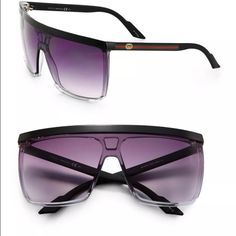 """Gucci Square Youngster Sunglasses Black and grey ombré Gucci Square Youngster flat top sunglasses with square frames, cool grey gradient lenses, signature web at arms, and GG logo at temples. Includes case. Estimated Retail: $245.00 Condition: Good. Faint scratches at frames. Measurements: Frame Height 2.25"""", Frame Width 5.75"""" Designer: Gucci Gucci Accessories Sunglasses"""