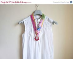 Fabric necklace. circle pendant scarf cord necklace by NMNHANDMADE, $11.99