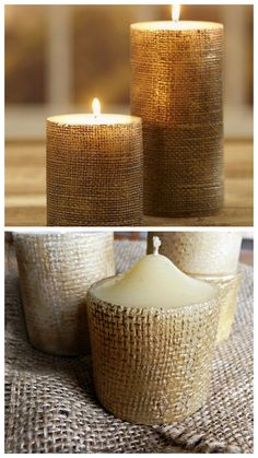 DIY Pottery Barn Inspired Gold Burlap Candles from Mad in Crafts here. Pretty clever idea using no actual burlap on the candle. This would take you less than 15 minutes to do and would be so pretty tied up with a gold bow for cheap gifts. Easy Diy Crafts, Diy Crafts Videos, Diy Crafts To Sell, Diy Crafts For Kids, Decor Crafts, Burlap Candles, Pillar Candles, Christmas Candle, Christmas Crafts