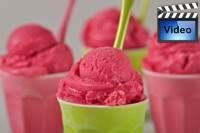 Raspberry Sherbet is a refreshing frozen dessert made with fresh or frozen  raspberries, along with sugar, milk, and a splash of freshly squeezed lemon juice. From Joyofbaking.com With Demo Video