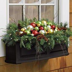 outside-christmas-deorations-window-planter-glass-balls
