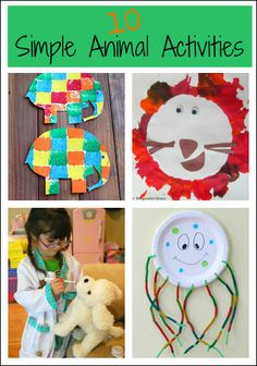 10 Simple Animal Activities from The Kids Weekly Co-Op - animal crafts, art, and pretend play activities.