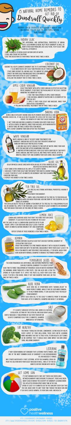 15 Natural Home Remedies To Get Rid Of Dandruff Quickly – Positive Health Wellness Infographic