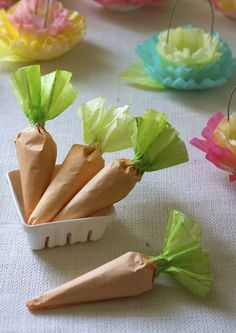 Carrot treat favors made from coffee filters