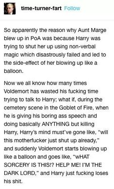 Would blowing up give Voldemort a nose or. Harry Potter Jokes, Harry Potter Fandom, Harry Potter World, No Muggles, Yer A Wizard Harry, Drarry, Dramione, Fandoms, Harry Potter Universal