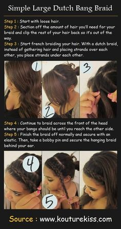 Large Dutch Bang Braid - Hairstyles and Beauty Tips