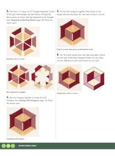 Instruction Page for one block wonder cubes Geometric Quilt, Hexagon Quilt, Quilt Block Patterns, Square Quilt, Pattern Blocks, Quilting Tutorials, Quilting Projects, Quilting Designs, One Block Wonder
