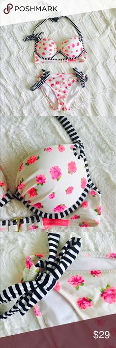 VS Pink Tie Push Up Bikini Adorable Victoria secret Push Up Bikini in a cute pink flower print. Bottom has adjustable side ties. Top is a 34B, bottom is a Small. Lucky if I wore it twice! Victoria's Secret Swim Bikinis