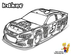 NASCAR Cars Coloring Kahne at YesColoring