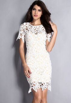 Creux Out Midi Robes Blanc Creme Robe En Dentelle #robedentelle – Modebuy.com