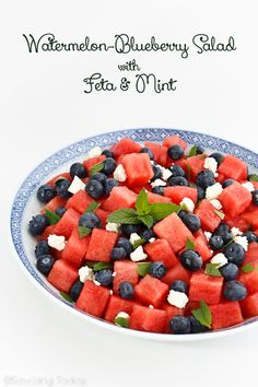 Watermelon Blueberry Salad Recipe for 4th of July Party or any summer gathering when watermelon is ripe and delicious.