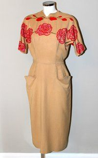 Fabulous Vintage 1940s Dress from Porter Vintage, with hand painted / embroidered floral detail.