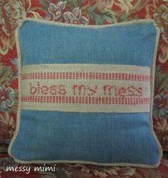 burlap, denim and jute pillow