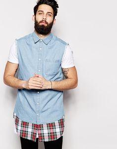 ASOS Sleeveless Super Longline Shirt With Tartan Check Hem And Mid Wash