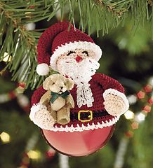 Santa Claus Crochet Ornament Topper created using size 10 thread. I like this concept because you could use an unbreakable ball. Free Pattern from: Sunflowers At Home with free membership or Annie's Attic Crochet Christmas Decorations, Crochet Ornaments, Christmas Crochet Patterns, Christmas Knitting, Crochet Crafts, Christmas Tree Ornaments, Noel Christmas, Christmas Projects, Simple Christmas