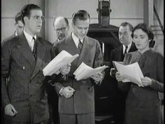 "The 1938 Jam Handy short film ""Back of the Mike"" demonstrates, in detail, how dramatic sound effects were made for radio serials using specific devices and actors voicing different roles."