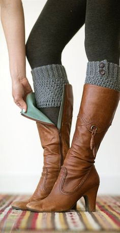 Love these boots! Knitted Boot Cuffs, Faux Leg Warmers, or Boot Toppers with Chunky Knit and Wooden Working Buttons for Women and Teens in Caramel Tan Knitted Boot Cuffs, Knit Boots, Boot Toppers, Mode Outfits, Fall Outfits, Mode Shoes, Boot Socks, Socks For Boots, Mode Style