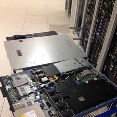 This is what a dedicated rack mount server out. The picture shows that the server is just undergoing a routine maintenance.