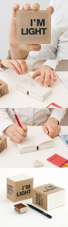 This is more than just a cute-looking mini sized notebook! First, You are getting 840 total pages of plain note, which is Plentiful! Plus, it can be opened 180 degrees so that you can write on it conveniently despite of its small size. Also, it cares about our environment, as this eco friendly notebook is made with recycled papers of good quality. I bought the Block I'm Light Notebook for quick memos but I might use it as a decoration after I use every notes!