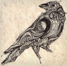pen and ink bird pen This would make a great raven or crow design or pattern. Crow Art, Raven Art, Bird Art, Tattoo Sketch, 1 Tattoo, Smoke Tattoo, Tattoo Drawings, Rabe Tattoo, Crows Ravens