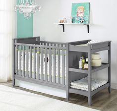 Have to have it. Baby Relax Emma 2-in-1 Convertible Crib and Changing Table Combo - Gray - $293.97 @hayneedle