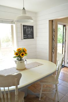 DIY Chalk Painted Antique Dining Table Breakfast Nook