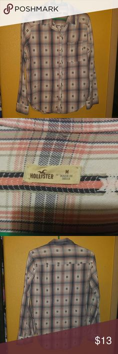 Hollister pink and blue plaid shirt Size medium button up western style NWOT Hollister Tops Button Down Shirts