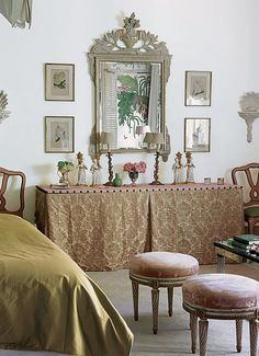 Damask table skirt, upholstery tacks: could do this with hall table or table behind couch