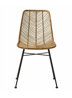 Bloomingville Lena Dining Chair in Natural Rattan and black iron frame. The curvy seat is woven in rattan to create a herring bone unique pattern. Rattan Dining Chairs, Oak Dining Table, Outdoor Chairs, Kitchen Chairs, Chaise Noir Design, Luxury Furniture, Furniture Design, Cane Furniture, Door Furniture