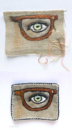 Broderie : œil aux lunettes avant/après
