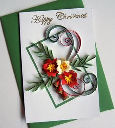 Happy Christmas Card  Handmade Quilled Christmas by stoykasart, $6.00