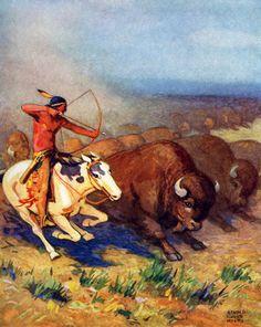 *Native Americans Hunting Buffalo...Arnold LorneHicks