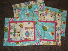 4 Handmade Easter Bunny Eggs Placemats boutique quality kitchen tabletops #Handmade