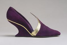 Shoes, 1948–50 Salvatore Ferragamo (Italian, 1898–1960) Purple suede and gold metallic leather Gift of Salvatore Ferragamo, 1973 (1973...