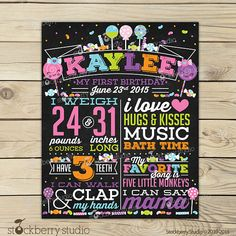 Candy Birthday Chalkboard Sign Printable - Girl First Birthday Chalkboard Sign - Candy Shop Chalkboard Birthday Poster - Candy Shoppe 1st Birthday Signs, First Birthday Chalkboard, Girl First Birthday, 2nd Birthday Parties, Birthday Ideas, Five Little Monkeys, Chalkboard Poster, Sign Templates, Candy Shop