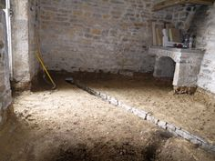 The cellar renvation into a kitchen (with fireplace) and shower.