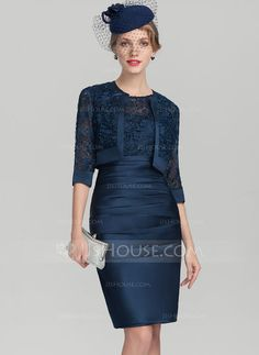 [US$ 115.99] Sheath/Column Scoop Neck Knee-Length Satin Lace Mother of the Bride Dress With Ruffle