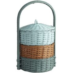 Pier 1 Imports Multi-colored Village Tiered Picnic Basket ($50) ❤ liked on Polyvore featuring home, home decor, small item storage, decor, picnic, multicolor, pier 1 imports and colorful home decor