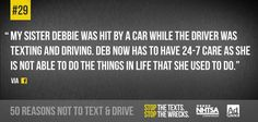 Think about the consequences before you text and drive Texting While Driving, Distracted Driving, Driving School, Dont Text And Drive, Trauma Center, Back Off, Text Messages, Losing Me, Texts